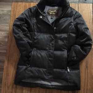 Coach faux fur black winter coat XS